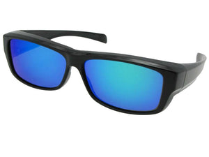 Style F23 Medium Rectangular Polarized Fit Over Sunglasses Blue Mirror Gray Lenses