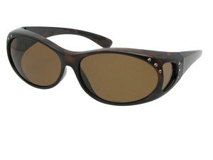 Style F3 Small Fashion Fit Over With Rhinestones Tortoise Frame Brown Lenses
