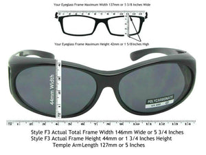 Style F3 Small Non Polarized Over Glasses Black Non Polarized Gray Lenses