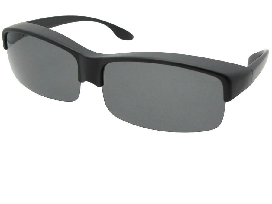Style F40 Wide Half Rim Polarized Fit Over Sunglasses Shiny Black Frame Gray Lenses