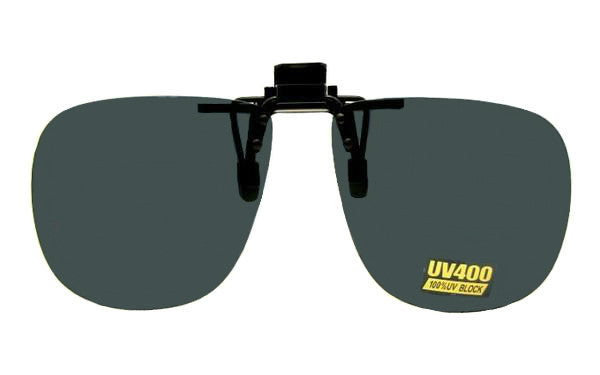 Square Non Polarized Flip Up Black Frame Gray Lenses