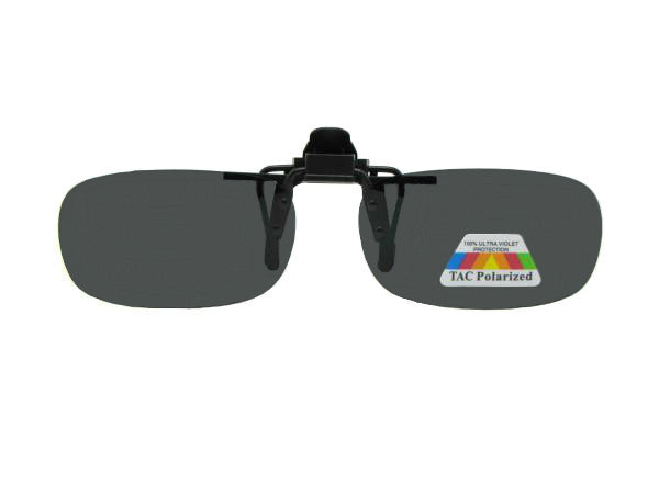 Skinny Curved Rectangle Polarized Flip Up Polarized Gray Lenses