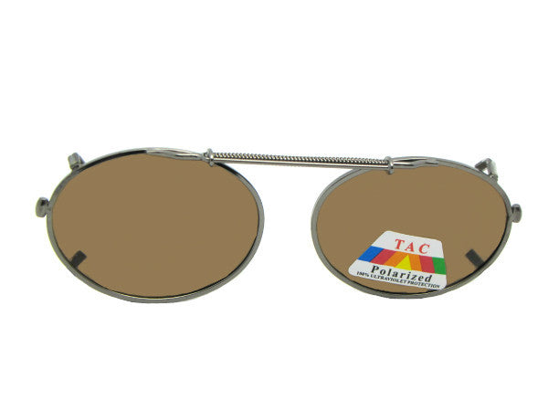 Oval Polarized Clip-on Sunglasses