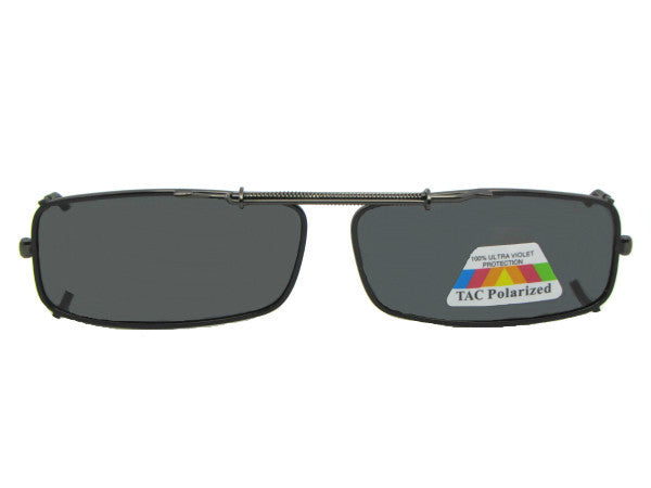 Extra Skinny Rectangle Polarized Clip-on Sunglass Pewter Frame Gray Lenses