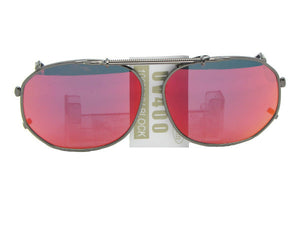 Round Square Color Mirror Clip on Pewter Frame Red Mirror Lenses