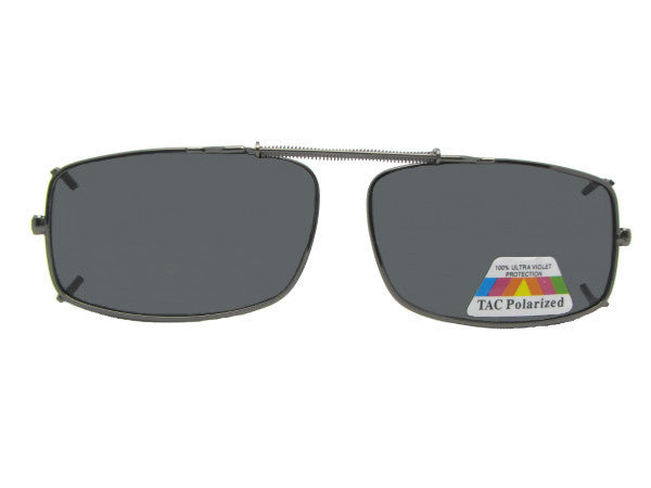 Slim Rectangle Polarized Clip-on Pewter Frame Polarized Gray Lens
