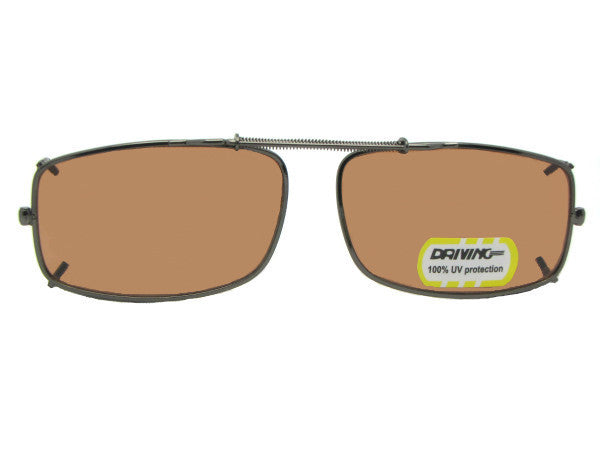 Slim Rectangle Non Polarized Amber Clip-on Bronze Frame Amber Lens