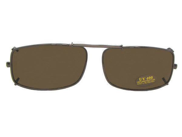 Slim Rectangle Non Polarized Clip-ons Pewter Non Polarized Gray Lens