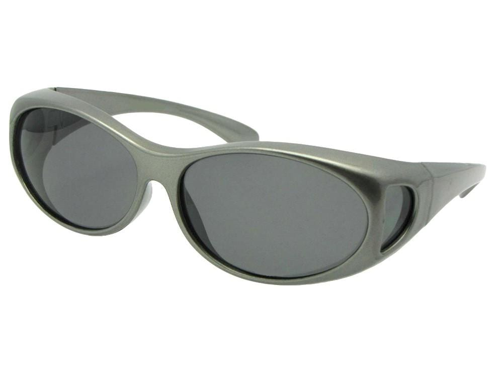 Style F3 Best Small Size Polarized Over GlassesSilver Fox Gray Med Dark Gray Lens