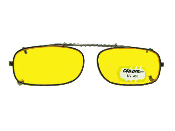 Skinny Curved Rectangle Yellow Lens Pewter Frame