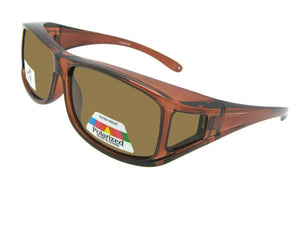 Style F11 Wrap Around Polarized Sunglasses Over Glasses Bronze Frame Brown  Polarized Lenses