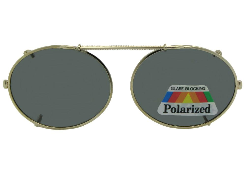 Round Oval Polarized Pewter Frame Gray Lens
