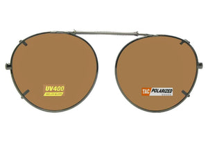 Semi Round Polarized Clip On Sunglasses Pewter Frame Brown Polarized Lens