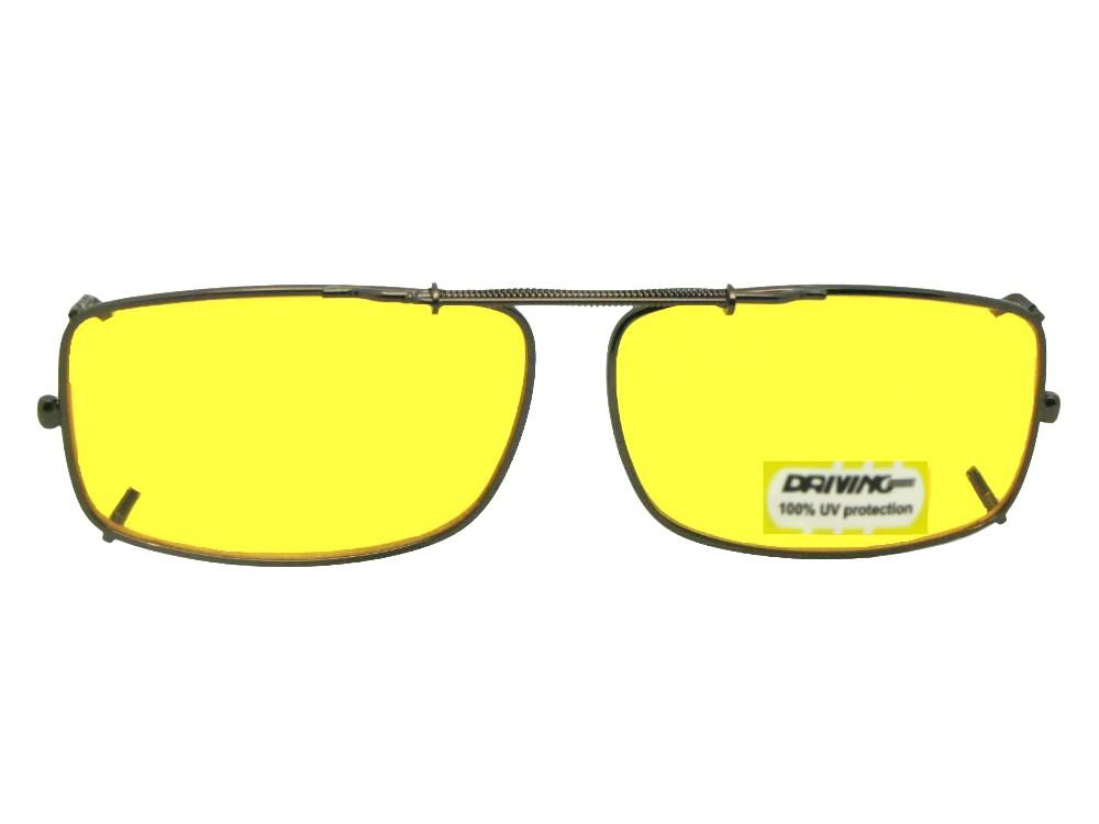 Slim Rectangle Yellow Lens Clip-on Pewter Frame
