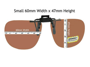 Amber Square Non Polarized Flip Up Small 60mm Wide x 47mm Height Black Frame