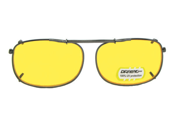 Rectangle Non Polarized Yellow Clip-ons Pewter Frame