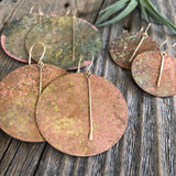 Patina Circle Earrings- Gold