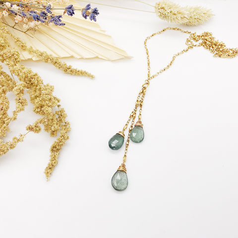 Moss Aqua Tassel Necklace