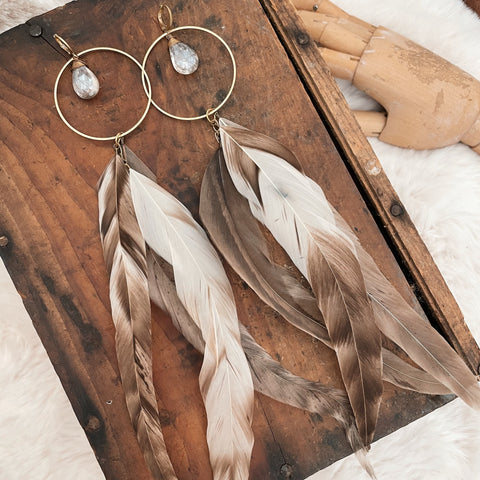 Shining Goddess Feather Earrings