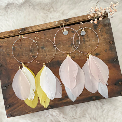 Patina Hoop Feather Earrings