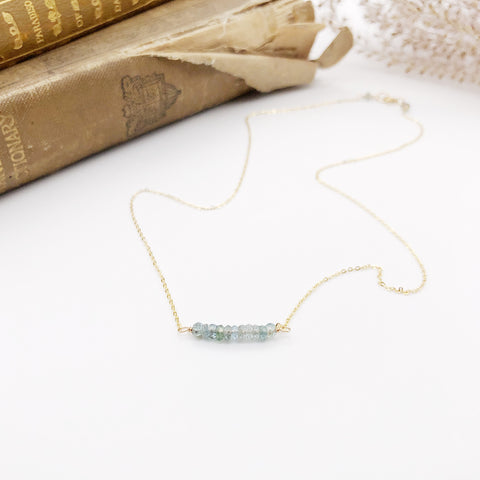 Moss Aquamarine Bar Necklace