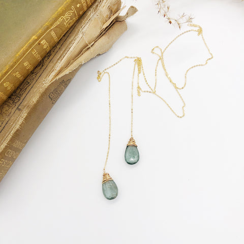 Moss Aquamarine Lariat Necklace
