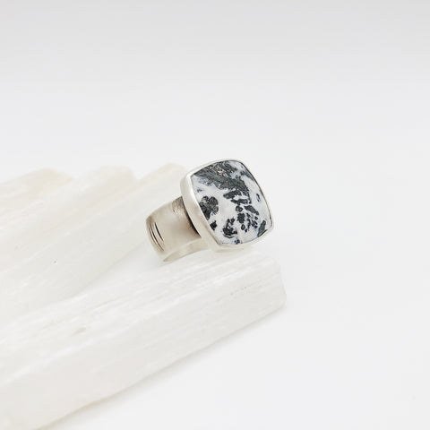 Unisex Dendritic Agate Ring
