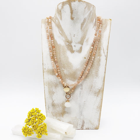 Peach Moonstone Necklace & Bracelet Set