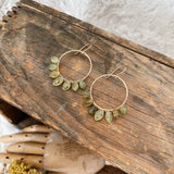 Green Garnet Marquee Hoop Earrings