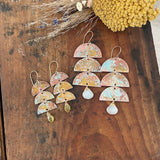 Layered Half Moon Patina Earrings - Large