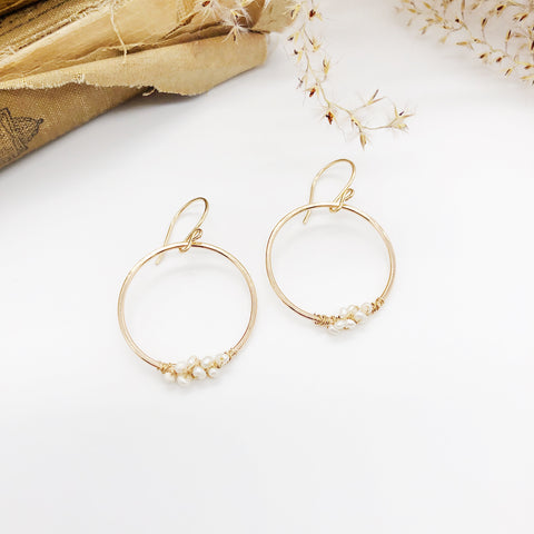 Gold Wrapped Pearly hoops
