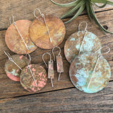 Patina Circle Earrings- Sterling