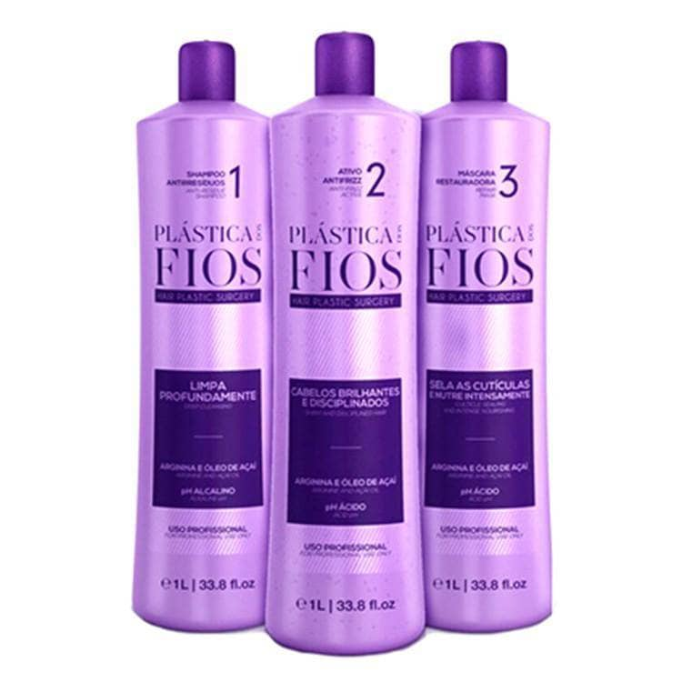 PLASTICA DOS FIOS BRAZILIAN KERATIN 3 STEPS TREATMENT KIT 1000ml (34oz) - Keratinbeauty