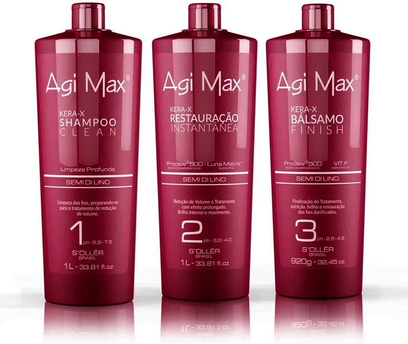 Agi Max Red Brazilian Keratin Kera-x Soller Treatment 3 X 1000ml 34oz - Keratinbeauty
