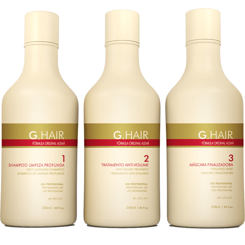 G HAIR GERMAN HAIR SMOOTHING KIT 3 x 250ml/8.5fl.oz. - Keratinbeauty