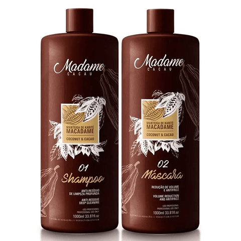 Madame Cacau Hair Smoothing Keratin Treatment Kit  2 x 1000ml (33.81 fl.oz)