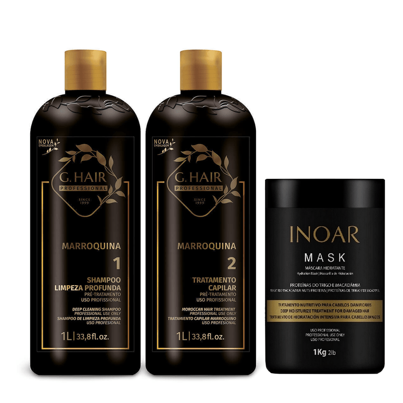 G HAIR MARROQUINO TRATAMIENTO DE QUERATINA SET 3 PCS . 1000ml 34 oz - Keratinbeauty