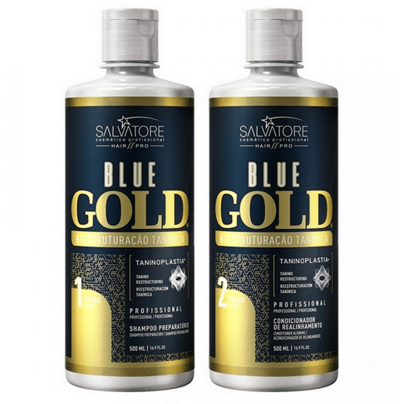 SALVATORE BLUE GOLD  TANINOPLASTIA KIT DE TRATAMIENTO DE PELO 2 X 500ml / 16,9fl.oz - Keratinbeauty