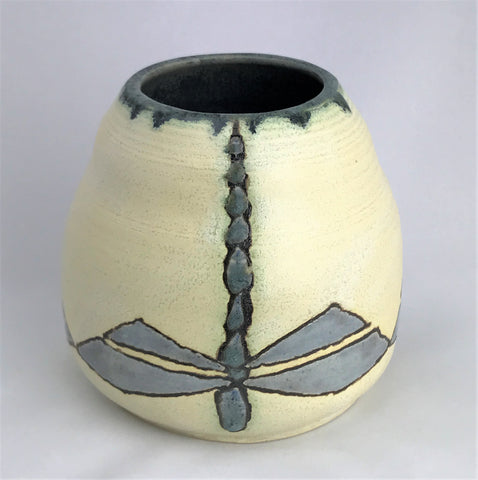 Blue Dragonflies on Creme| Taira Wiggins | Sweet Earth Pottery