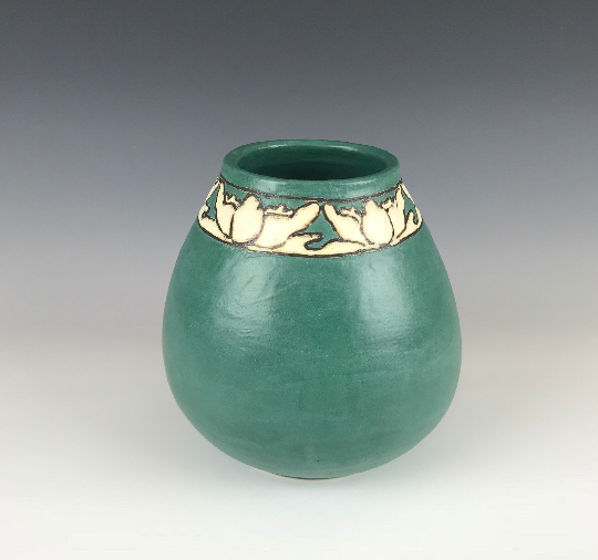 Forest Green Lotus Vase| Taira Wiggins | Sweet Earth Pottery