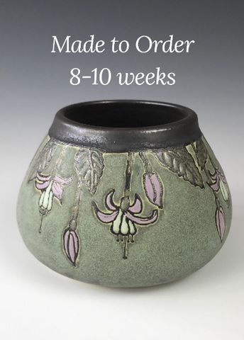 Made to Order | Fuschias on Green | Craftsman Pottery | SEG Style| Taira Wiggins | Sweet Earth Pottery