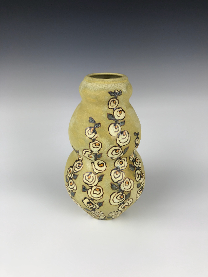 Hollyhocks Curvy Vase | Contemporary Arts & Crafts Mission SEG Style |Craftsman | Taira Wiggins | Sweet Earth Pottery
