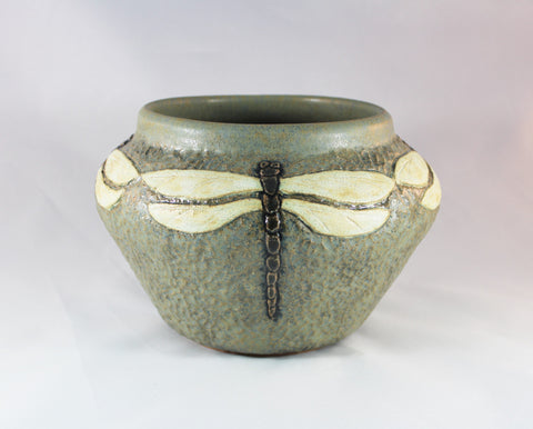 SOLD Dragonfly Craftsman Art Pottery Vase by Taira Wiggins, Sweet Earth Pottery