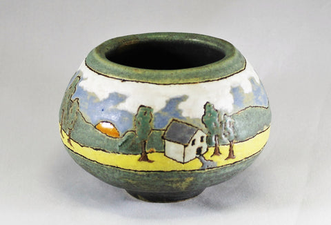 Cottage and Sunset on Green Decorative Vase | Taira Wiggins | Sweet Earth Pottery