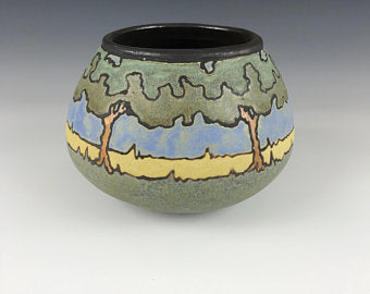 Blue Sky Oaks (Medium) | Contemporary Arts & Crafts | SEG Newcomb Style | Taira Wiggins | Sweet Earth Pottery