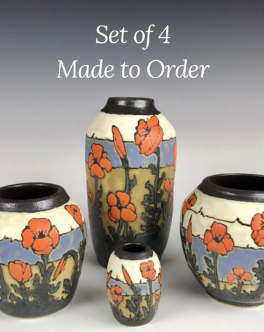Made to Order | SET of 4 Poppy Vases | Contemporary Arts & Crafts Mission SEG Style | Craftsman | Taira Wiggins | Sweet Earth Pottery