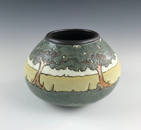 SOLD A Circle of Oaks (Medium)| SEG Newcomb Style | Taira Wiggins | Sweet Earth Pottery