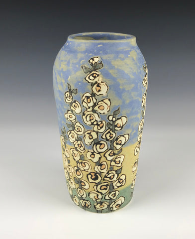 Hollyhocks Tri-color Vase | Contemporary Arts & Crafts Mission SEG Style |Craftsman | Taira Wiggins | Sweet Earth Pottery