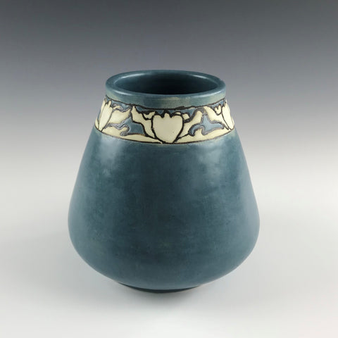 SOLD Blue Lotus SEG Design Vase | Contemporary Arts & Crafts Mission SEG Style |Craftsman | Taira Wiggins | Sweet Earth Pottery