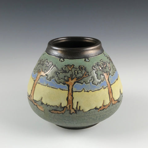 SOLD A Tree Landscape Vase | Contemporary Arts & Crafts Mission SEG Style |Craftsman | Taira Wiggins | Sweet Earth Pottery